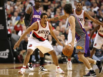 PORTLAND, OR - APRIL 29:  Andre Miller #24 of the Portland Trail Blazers in action against Steve Nash #13 of the Phoenix Suns during Game Six of the Western Conference Quarterfinals of the NBA Playoffs on April 29, 2010 at the Rose Garden in Portland, Ore