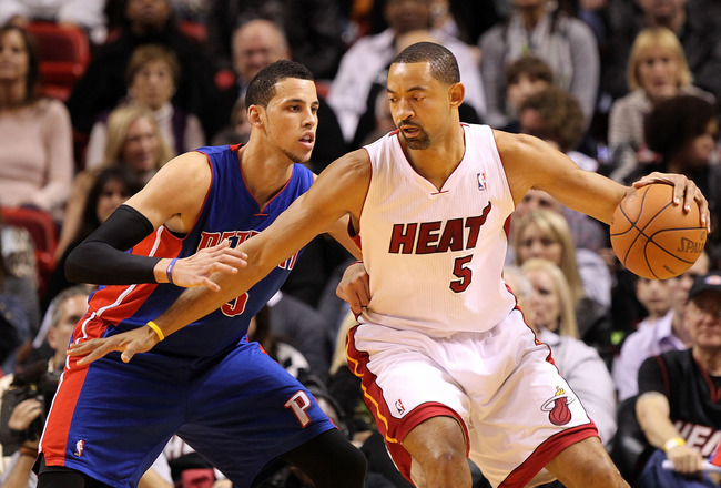 MIAMI, FL - JANUARY 28:  Juwan Howard #5 of the Miami Heat posts up Austin Daye #5 of the Detroit Pistons during a game at American Airlines Arena on January 28, 2011 in Miami, Florida. NOTE TO USER: User expressly acknowledges and agrees that, by downloa