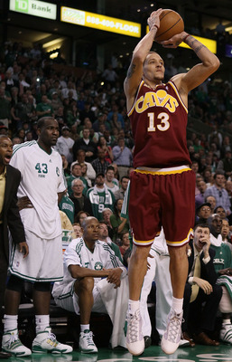 BOSTON - MAY 09:  Delonte West #13 of the Cleveland Cavaliers takes a shot in the second half against the Boston Celtics during Game Four of the Eastern Conference Semifinals of the 2010 NBA playoffs at TD Garden on May 9, 2010 in Boston, Massachusetts. T