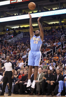 PHOENIX - OCTOBER 22:  Anthony Carter #25 of the Denver Nuggets puts up a shot against the Phoenix Suns during the preseason NBA game at US Airways Center on October 22, 2010 in Phoenix, Arizona. NOTE TO USER: User expressly acknowledges and agrees that,
