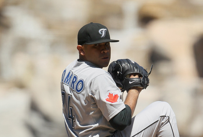 ANAHEIM, CA - AUGUST 15:  Ricky Romero #24 of the Toronto Blue Jays pitches against the Los Angeles Angels of Anaheim at Angel Stadium on August 15, 2010 in Anaheim, California. The Blue Jays defeated the Angels 4-1.  (Photo by Jeff Gross/Getty Images)