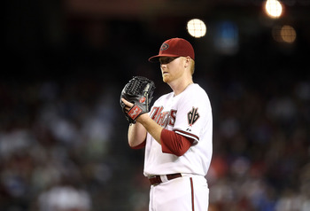 PHOENIX - SEPTEMBER 24:  Starting pitcher Barry Enright #54 of the Arizona Diamondbacks pitches against the Los Angeles Dodgers during the Major League Baseball game at Chase Field on September 24, 2010 in Phoenix, Arizona.  (Photo by Christian Petersen/G