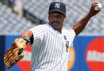 NEW YORK - JULY 17:  Former New York Yankee Ron Guidry warms up before the teams 64th Old-Timer's Day before the MLB game against the Tampa Bay Rays on July 17, 2010 at Yankee Stadium in the Bronx borough of New York City.  (Photo by Jim McIsaac/Getty Ima