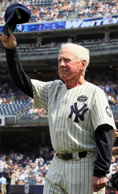 NEW YORK - JULY 17:  Hall of Famer Whitey Ford is introduced during the New York Yankees 64th old timers day before the MLB game against the Tampa Bay Rays on July 17, 2010 at Yankee Stadium in the Bronx borough of New York City.  (Photo by Jim McIsaac/Ge