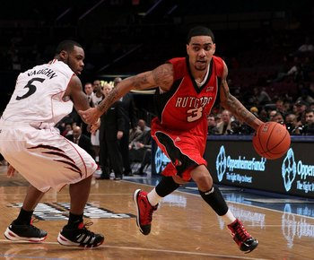 NEW YORK - MARCH 09:  Mike Rosario #3 of the Rutgers Scarlet Knights handles the ball against the Cincinnati Bearcats during the first round game of the Big East Basketball Tournament at Madison Square Garden on March 9, 2010 in New York, New York.  (Phot