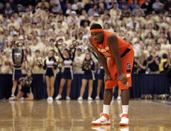 PITTSBURGH, PA - JANUARY 17:  C.J. Fair #5 of the Syracuse Orange looks on in the last seconds of the game against the Pittsburgh Panthers at Petersen Events Center on January 17, 2011 in Pittsburgh, Pennsylvania.  The Panthers defeated the Orange 74-66.