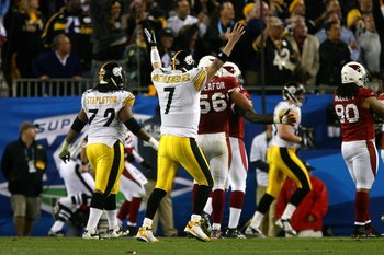 TAMPA, FL - FEBRUARY 01:  Ben Roethlisberger #7 of the Pittsburgh Steelers celebrates after he threw a 6-yard touchdown pass to Santonio Holmes #10 in the fourth quarter against the Arizona Cardinals during Super Bowl XLIII on February 1, 2009 at Raymond