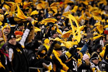 PITTSBURGH, PA - JANUARY 23:  Pittsburgh Steelers fans celebrate during their 24 to 19 win over the New York Jets during the 2011 AFC Championship game at Heinz Field on January 23, 2011 in Pittsburgh, Pennsylvania.  (Photo by Gregory Shamus/Getty Images)