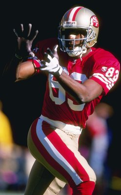 5 Nov 1995:  Wide receiver J. J. Stokes of the San Francisco 49ers looks to catch the ball during a game against the Carolina Panthers at 3Com Park in San Francisco, California.  The Panthers won the game, 13-7. Mandatory Credit: Al Bello  /Allsport