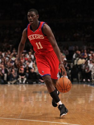 NEW YORK - MARCH 19:  Jrue Holiday #11 of the Philadelphia 76ers dribbles the ball against the New York Knicks at Madison Square Garden on March 19, 2010 in New York City. NOTE TO USER: User expressly acknowledges and agrees that, by downloading and or us