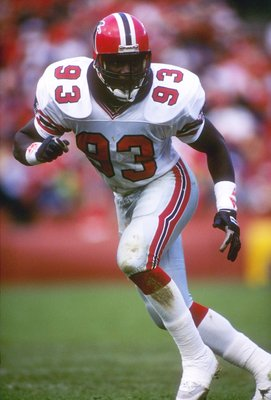 12 Nov 1989:  Linebacker Aundray Bruce of the Atlanta Falcons in action during a game against the San Francisco 49ers at Candlestick Park in San Francisco, California.  The 49ers won the game 45-3. Mandatory Credit: Otto Greule  /Allsport