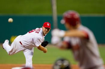 ST. LOUIS - JUNE 28:  Starting pitcher Chris Carpenter #29 of the St. Louis Cardinals throws against the Arizona Diamondbacks at Busch Stadium on June 28, 2010 in St. Louis, Missouri.  (Photo by Dilip Vishwanat/Getty Images)