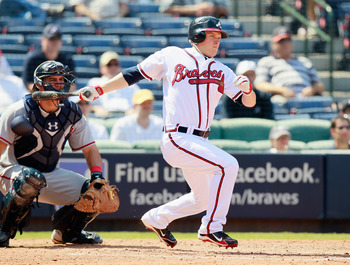 ATLANTA - SEPTEMBER 15:  Nate McLouth #24 of the Atlanta Braves against the Washington Nationals at Turner Field on September 15, 2010 in Atlanta, Georgia.  (Photo by Kevin C. Cox/Getty Images)