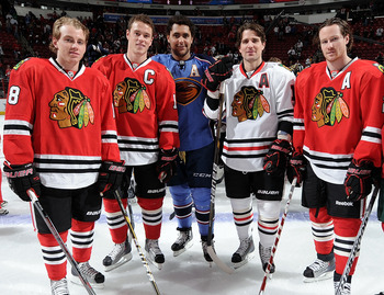 RALEIGH, NC - JANUARY 29:  Patrick Kane #88 of the Chicago Blackhawks, Jonathan Toews #19 of the Chicago Blackhawks, Dustin Byfuglien #33 of the Atlanta Thrashers, Patrick Sharp #10 of the Chicago Blackhaws, Duncan Keith #2 of of the Chicago Blackhawks an