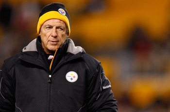 PITTSBURGH - DECEMBER 23:  Defensive coordinator Dick LeBeau of the Pittsburgh Steelers watches his team warm up prior to the game against the Carolina Panthers on December 23, 2010 at Heinz Field in Pittsburgh, Pennsylvania.  (Photo by Jared Wickerham/Ge