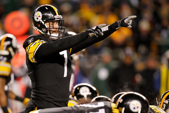 PITTSBURGH, PA - JANUARY 23:  Ben Roethlisberger #7 of the Pittsburgh Steelers calls a play against the New York Jets in the 2011 AFC Championship game at Heinz Field on January 23, 2011 in Pittsburgh, Pennsylvania. The Steelers defeated the Jets 24 to 19