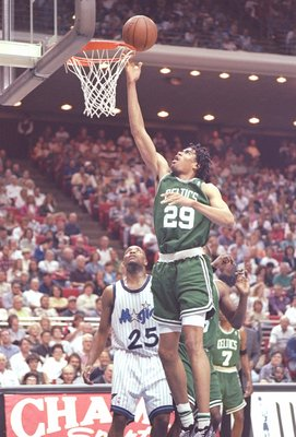 4 Apr 1996:  Center Pervis Ellison of the Boston Celtics jumps for the ball during a game against the Orlando Magic at the Orlando Arena in Orlando, Florida.  The Celtics won the game 100-98. Mandatory Credit: Allsport  /Allsport