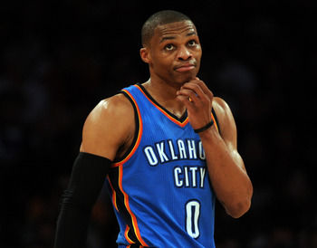 LOS ANGELES, CA - JANUARY 17:  Russell Westbrook #0 of the Oklahoma City Thunder reacts after a foul during the game against the Los Angeles Lakers at the Staples Center on January 17, 2011 in Los Angeles, California.   NOTE TO USER: User expressly acknow