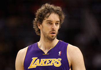 PHOENIX, AZ - JANUARY 05:  Pau Gasol #16 of the Los Angeles Lakers during the NBA game against the Phoenix Suns at US Airways Center on December 23, 2011 in Phoenix, Arizona. The Lakers defeated the Suns 99-95.  NOTE TO USER: User expressly acknowledges a