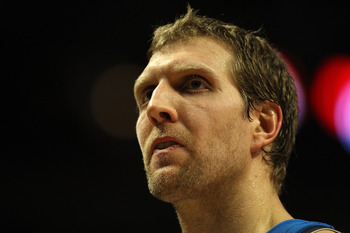 CHICAGO, IL - JANUARY 20: Dirk Nowitzki #41 of the Dallas Mavericks walks off of the court during a time-out against the Chicago Bulls at the United Center on January 20, 2011 in Chicago, Illinois. The Bulls defeated the Mavericks 82-77. NOTE TO USER: Use