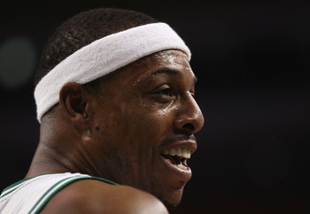 BOSTON, MA - JANUARY 07:  Paul Pierce #34 of the Boston Celtics looks on in the first quarter against the Toronto Raptors on January 7, 2011 at the TD Garden in Boston, Massachusetts. NOTE TO USER: User expressly acknowledges and agrees that, by downloadi