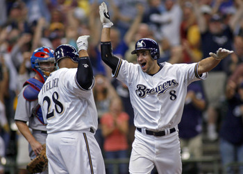 MILWAUKEE - SEPTEMBER 28:  Ryan Braun #8 of the of the Milwaukee Brewers celebrates his game winning two run home run against the Chicago Cubs with teammate Prince Fielder #28 in the eighth inning at Miller Park on September 28, 2008 in Milwaukee, Wiscons