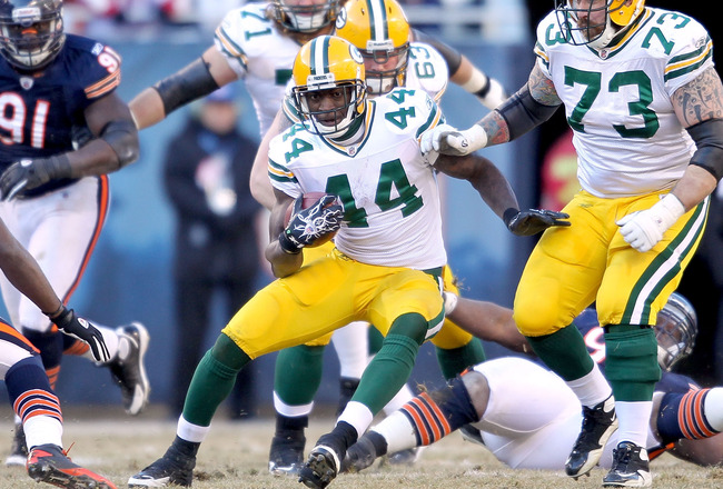CHICAGO, IL - JANUARY 23:  Running back James Starks #44 of the Green Bay Packers runs the ball in the second quarter against the Chicago Bears in the NFC Championship Game at Soldier Field on January 23, 2011 in Chicago, Illinois.  (Photo by Andy Lyons/G