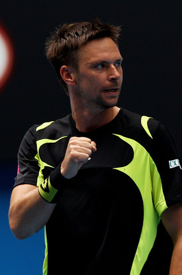 MELBOURNE, AUSTRALIA - JANUARY 24:  Robin Soderling of Sweden celebrates winning a point in his fourth round match against Alexandr Dolgopolov of the Ukraine during day eight of the 2011 Australian Open at Melbourne Park on January 24, 2011 in Melbourne,