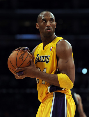 LOS ANGELES, CA - FEBRUARY 03:  Kobe Bryant #24 of the Los Angeles Lakers reacts to his defense during a stop in play against the San Antonio Spurs during the first half at Staples Center on February 3, 2011 in Los Angeles, California.  NOTE TO USER: User