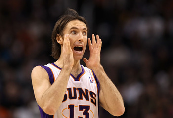 PHOENIX, AZ - JANUARY 28:  Steve Nash #13 of the Phoenix Suns during the NBA game against the Boston Celtics at US Airways Center on January 28, 2011 in Phoenix, Arizona. The Suns defeated the Celtics 88-71. NOTE TO USER: User expressly acknowledges and a