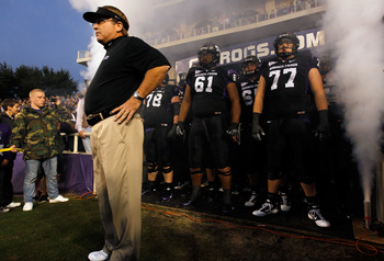 FORT WORTH, TX - OCTOBER 23:  Head coach Gary Patterson of the TCU Horned Frogs leads his team on the field against the Air Force Falcons at Amon G. Carter Stadium on October 23, 2010 in Fort Worth, Texas.  TCU beat Air Force 38-7. (Photo by Tom Penningto