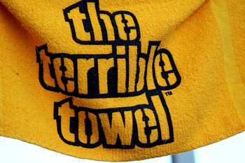 PITTSBURGH, PA - JANUARY 23:  A detail of a terrible towel is seen prior to the 2011 AFC Championship game between the New York Jets and the Pittsburgh Steelers at Heinz Field on January 23, 2011 in Pittsburgh, Pennsylvania.  (Photo by Ronald Martinez/Get