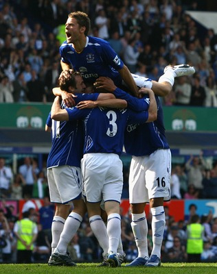 LIVERPOOL, UNITED KINGDOM - MAY 05:  James Beattie of Everton celebrates after teammate Gary Naysmith scored their third goal during the Barclays Premiership match between Everton and Portsmouth at Goodison Park on May 5, 2007 in Liverpool, United Kingdom