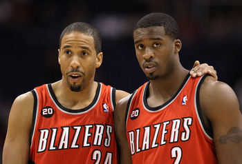 PHOENIX - DECEMBER 10:  Andre Miller #24 and Wesley Matthews #2 of the Portland Trail Blazers talk during a break from the NBA game against the Phoenix Suns at US Airways Center on December 10, 2010 in Phoenix, Arizona. NOTE TO USER: User expressly acknow