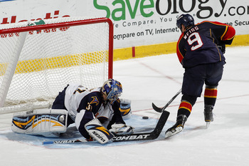 SUNRISE, FL - JANUARY 17: Goaltender Ondrej Pavelec #31 of the Atlanta Thrashers stops the shoot out shot by Stephen Weiss #9 of the Florida Panthers on January 17, 2011 at the BankAtlantic Center in Sunrise, Florida. The Thrashers defeated the Panthers 3