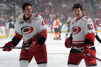 RALEIGH, NC - JANUARY 29:  Jamie McBain #4 and Jeff Skinner #53 of the Carolina Hurricanes warm up prior to the Honda NHL SuperSkills competition part of 2011 NHL All-Star Weekend at the RBC Center on January 29, 2011 in Raleigh, North Carolina.  (Photo b