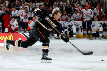 RALEIGH, NC - JANUARY 29:  Cam Fowler #4 of the Anaheim Ducks competes in the hardest shot part of the Honda NHL SuperSkills competition part of 2011 NHL All-Star Weekend at the RBC Center on January 29, 2011 in Raleigh, North Carolina.  (Photo by Kevin C
