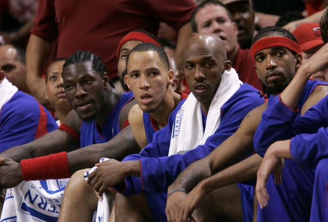 MIAMI - JUNE 2:  (L-R) Horace Jenkins, Darvin Ham #8, Ben Wallace #3, Tayshaun Prince #22, Chauncey Billups #1, Richard Hamilton #32 and Darko Milicic #31 of the Detroit Pistons sit on the bench dejected in the final minutes of their 88-76 loss to the Mia