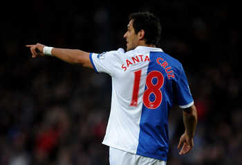 BLACKBURN, ENGLAND - JANUARY 23:  Roque Santa Cruz of Blackburn Rovers gestures during the Barclays Premier League match between Blackburn Rovers and West Bromwich Albion at Ewood Park on January 23, 2011 in Blackburn, England. (Photo by Laurence Griffith