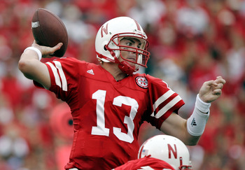 LINCOLN, NE - SEPTEMBER 17:  Quarterback Zac Taylor #13 of the Nebraska Cornhuskers throws against the Pittsburgh Panthers on September 17, 2005 at Memorial Stadium in Lincoln, Nebraska.  Nebraska held on to win 7-6.  (Photo by Brian Bahr/Getty Images)