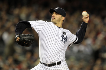 NEW YORK - OCTOBER 18:  Andy Pettitte #46 of the New York Yankees pitches against the Texas Rangers in Game Three of the ALCS during the 2010 MLB Playoffs at Yankee Stadium on October 18, 2010 in New York, New York.  (Photo by Al Bello/Getty Images)