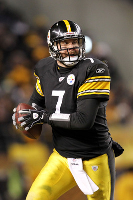 PITTSBURGH, PA - JANUARY 23:  Ben Roethlisberger #7 of the Pittsburgh Steelers drops back against the New York Jets during the 2011 AFC Championship game at Heinz Field on January 23, 2011 in Pittsburgh, Pennsylvania. The Pittsburgh Steelers defeated the