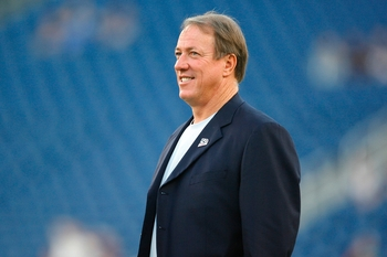 FOXBORO, MA - SEPTEMBER 14:  Hall of fame quarterback for the Buffalo Bills, Jim Kelly stands on the field before the game between the New England Patriots and the Buffalo Bills on September 14, 2009 at Gillette Stadium in Foxboro, Massachusetts. (Photo b