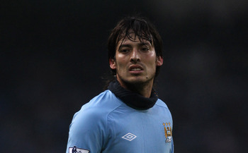 MANCHESTER, ENGLAND - DECEMBER 28:  David Silva of Manchester City looks on during the Barclays Premier League match between Manchester City and Aston Villa at the City of Manchester Stadium on December 28, 2010 in Manchester, England.  (Photo by Alex Liv