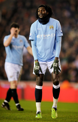 STOKE ON TRENT, ENGLAND - FEBRUARY 24:  Emmanuel Adebayor of Manchester City looks dejected after a missed chance during the FA Cup 5th round match between Stoke City and Manchester City at the Britannia Stadium on February 24, 2010 in Stoke on Trent, Eng