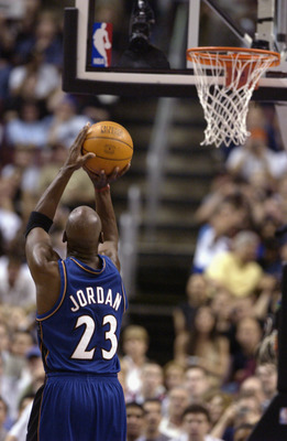 PHILADELPHIA - APRIL 16:  Michael Jordan #23 of the Washington Wizards shoots a free throw during the final NBA game of his career, played against the Philadelphia 76ers at First Union Center on March 30, 2003 in Philadelphia, Pennsylvania.  The Sixers wo