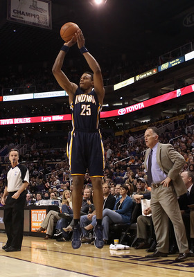 PHOENIX - DECEMBER 03:  Brandon Rush #25 of the Indiana Pacers puts up a shot during the NBA game against the Phoenix Suns at US Airways Center on December 3, 2010 in Phoenix, Arizona. NOTE TO USER: User expressly acknowledges and agrees that, by download