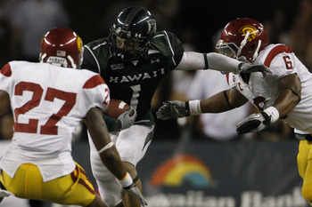 HONOLULU - SEPTEMBER 2:  Greg Salas of the University of Hawaii Warriors runs the ball during second half action at Aloha Stadium September 2, 2010 in Honolulu, Hawaii. (Photo by Kent Nishimura/Getty Images)