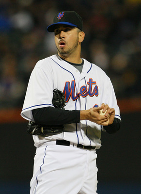 NEW YORK - APRIL 21:  Oliver Perez #46 of the New York Mets looks on during their game against the Chicago Cubs on April 21, 2010 at Citi Field in the Flushing neighborhood of the Queens borough of New York City.  (Photo by Mike Stobe/Getty Images)