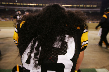 Polamalu's hair is so thick you can't even see his last name on his jersey